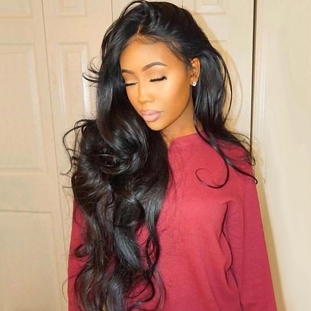 Remy Human Hair Full Lace Wig style Brazilian Hair Wavy Body Wave Wig 130% Density with Baby Hair Natural Hairline Bleached Knots Women's Long Human Hair Lace Wig