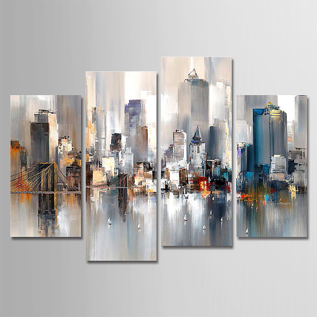 Hand-Painted Canvas Oil Painting Abstract City Landscape Set Of 4 For Home Decoration With Frame Ready To Hang With Stretched Frame