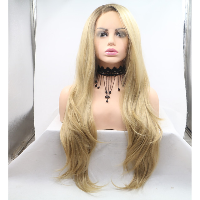 Synthetic Lace Front Wig Body Wave Layered Haircut Lace Front Wig Blonde Medium Length Golden Blonde Synthetic Hair 26 inch Women's Women Blonde Sylvia