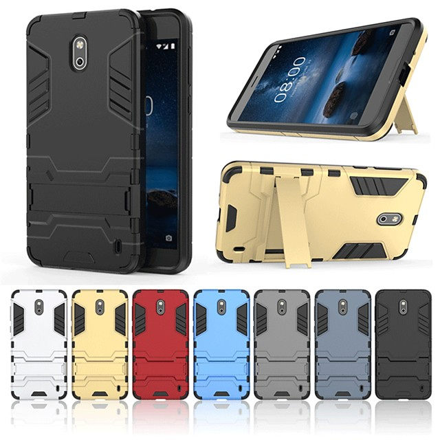Case For Nokia Nokia 2 Shockproof / with Stand Back Cover Solid Colored / Armor Hard PC