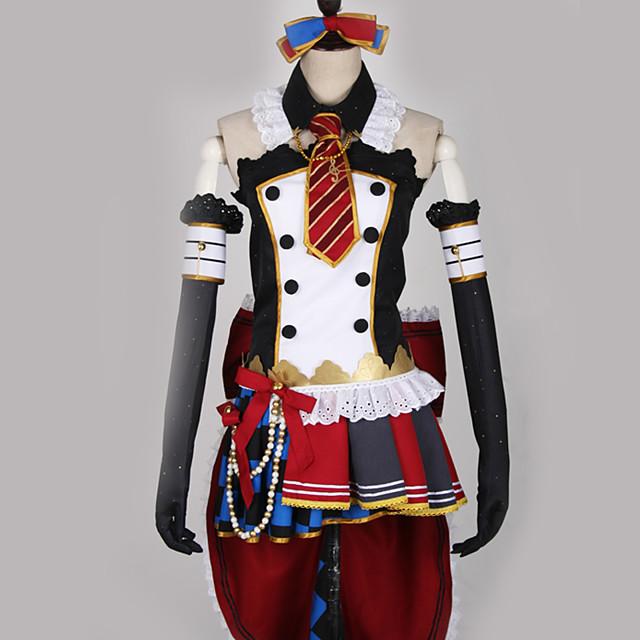 Inspirirana Ljubav uživo Kostimi sluškinje Cosplay Anime Cosplay nošnje Japanski Cosplay Suits Kolaž Miks boja Haljina Luk More Accessories Za Muškarci Žene