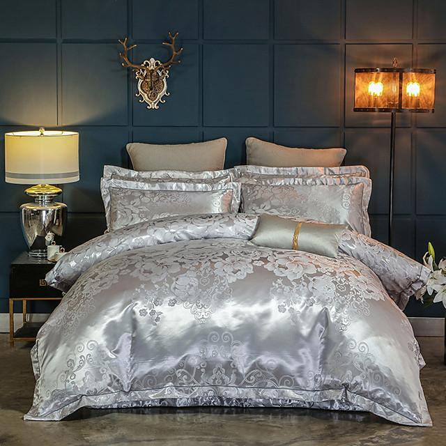 Duvet Cover Sets Luxury Silk / Cotton Blend Reactive Print 4 PieceBedding Sets