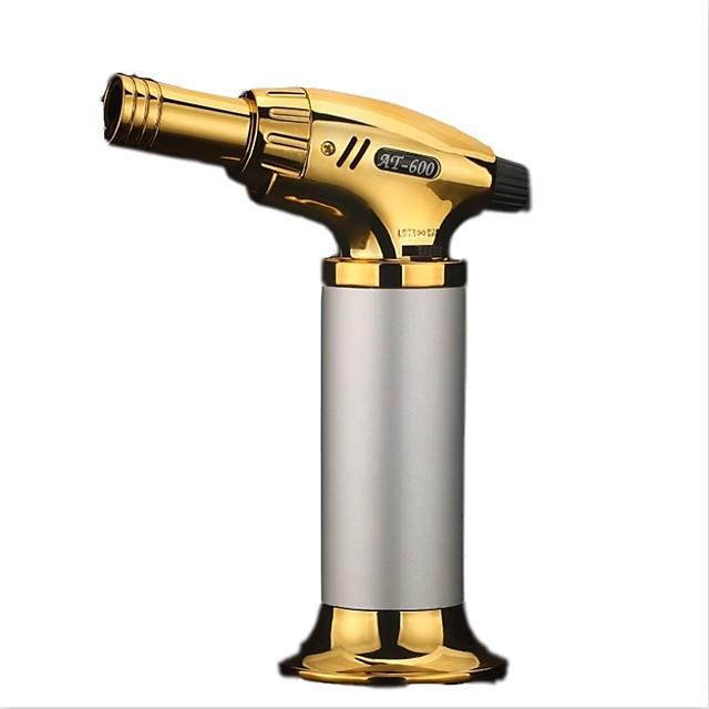 Compact Butane Jet Lighter Turbo Torch Lighter Fire Windproof Spray Gun Metal Lighter NO GAS Cigarette Accessories Random Color