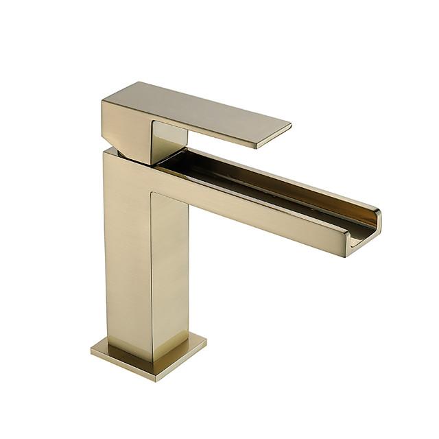 Bathroom Sink Faucet - Waterfall / Premium Design Brushed Deck Mounted Single Handle One HoleBath Taps