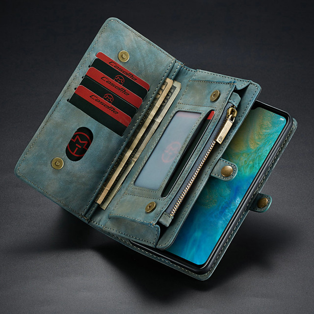 CaseMe Leather Protective Wallet with Removable Magnetic Closure Cell Phone Cover Many Compartments 11 Card Pockets Zippered Coin Pocket for Huawei Mate 20 Phone Case