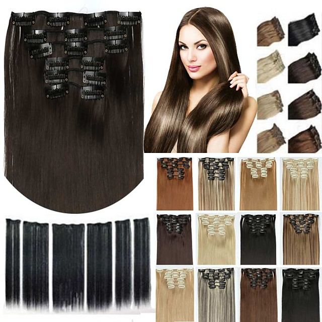 6pcs/lot 16 clip in hair extension synthetic hair 24 inch long straight hairpiece