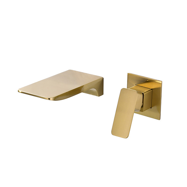 Bathroom Sink Faucet - Waterfall / Widespread / Premium Design Brushed Wall Mounted Single Handle Two HolesBath Taps