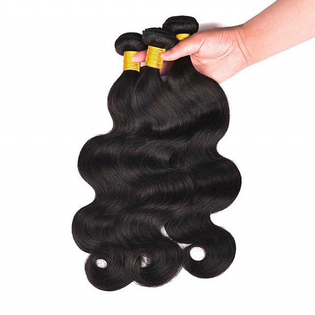 3 Bundles Hair Weaves Peruvian Hair Body Wave Human Hair Extensions Remy Human Hair 100% Remy Hair Weave Bundles 300 g Natural Color Hair Weaves / Hair Bulk Human Hair Extensions 8-28 inch Natural