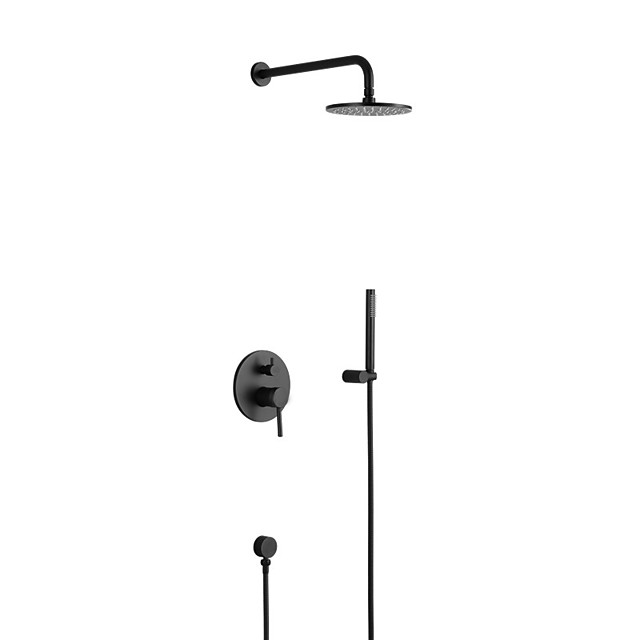 Shower Faucet Set - Rainfall Contemporary Painted Finishes Wall Mounted Ceramic Valve Bath Shower Mixer Taps / Brass / Two Handles Four Holes