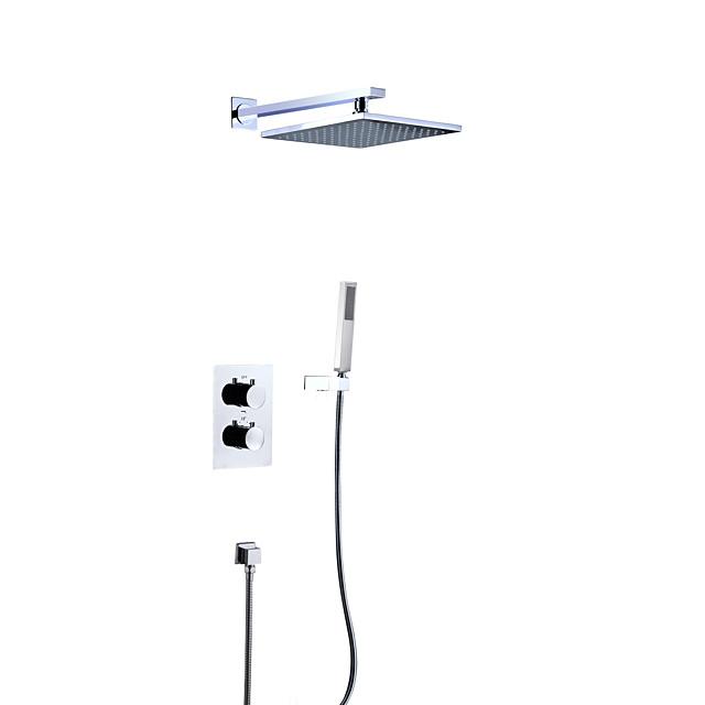 Shower Faucet Set - Rainfall Contemporary Chrome Wall Mounted Brass Valve Bath Shower Mixer Taps / Two Handles Four Holes
