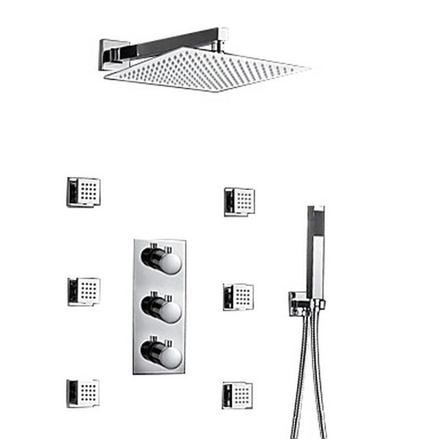 Shower Set Set - Rainfall Contemporary Chrome Wall Mounted Brass Valve Bath Shower Mixer Taps / Three Handles Three Holes