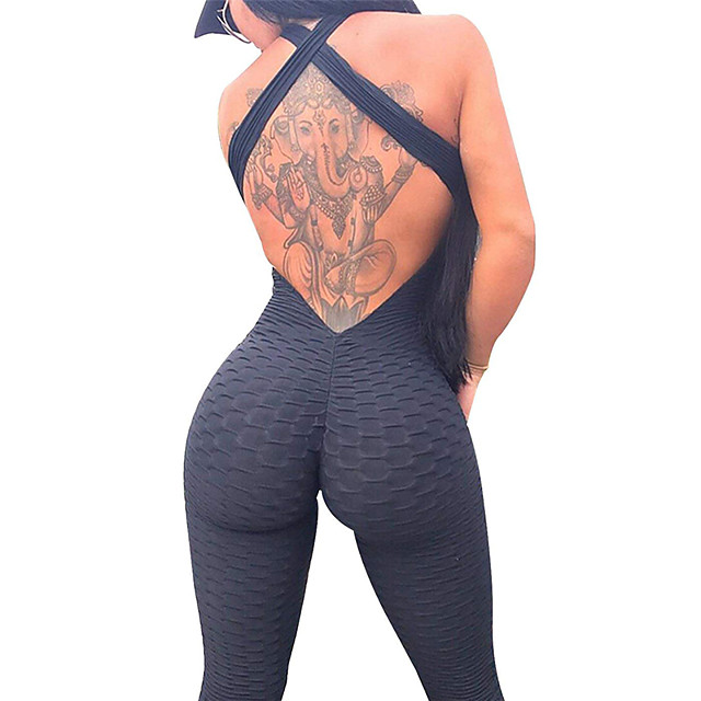 Women's Workout Jumpsuit Ruched Butt Lifting White Black Purple Spandex Yoga Gym Workout Fitness High Waist Leggings Bodysuit Romper Sport Activewear Tummy Control 4 Way Stretch Breathable Quick Dry