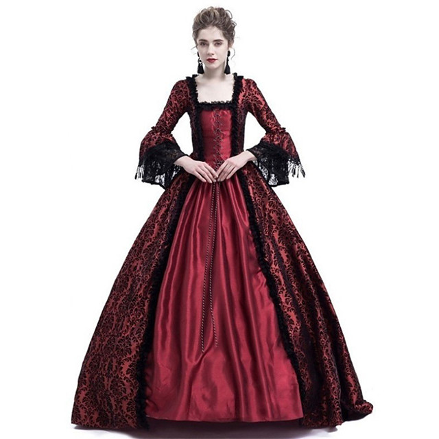 Queen Cosplay Duchess Vintage Inspired Medieval Ball Gown Dress Costume Women's Lace Costume Black / Purple / Ink Blue Vintage Cosplay Party Prom Long Sleeve Floor Length Plus Size Customized