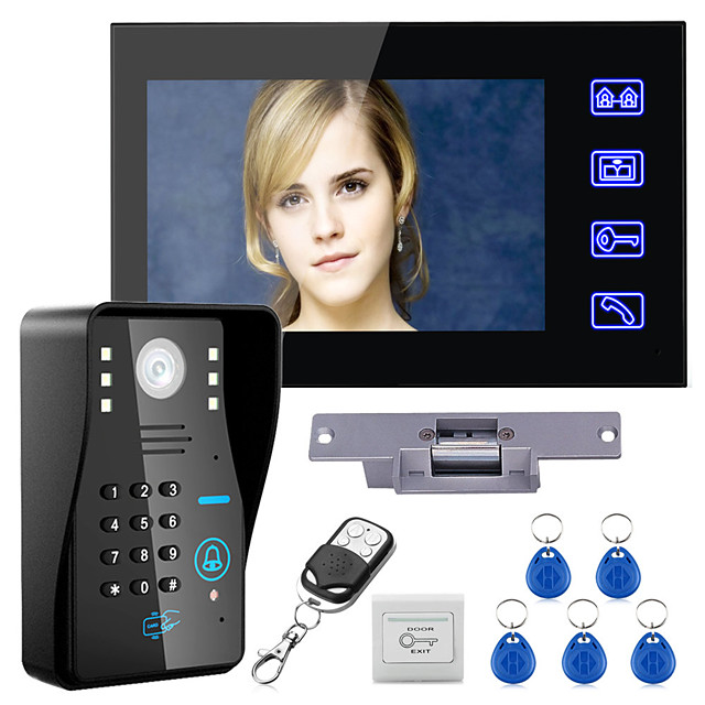 Wired 7 inch Hands-free One to One Video Doorphone Doorbell 960*480 Intercom System Kit Electric Strike Lock Wireless Remote Control Unlock Remote Control for Access Control System