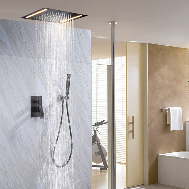 500*360 Matte Black / LED Shower Faucets Sets Complete with Stainless Steel Shower Head and Solid Brass Handshower Ceiling Mounted Rainfall Shower Head System