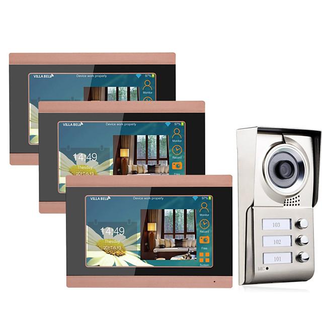 7inch Record wireless Wifi 3 Apartments Video Door Phone Intercom System IR-CUT HD 1000TVL Camera Doorbell Camera