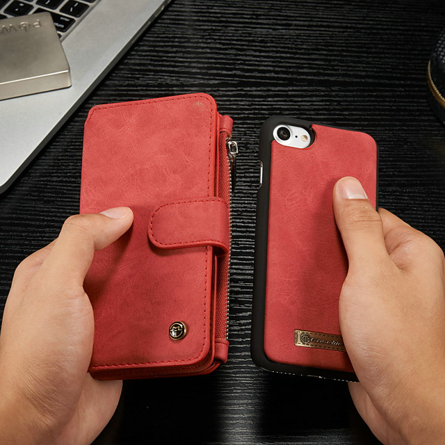CaseMe Case For Apple iPhone 8 / iPhone 7 Wallet / Card Holder / with Stand Full Body Cases Solid Colored Hard PU Leather