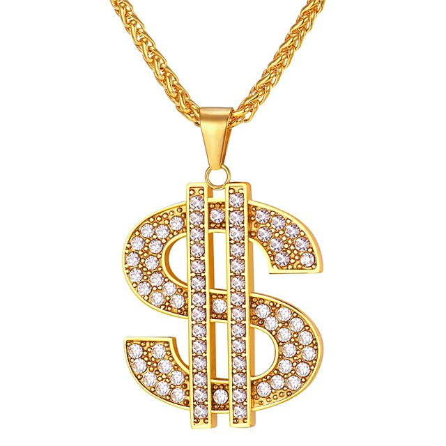 Men's AAA Cubic Zirconia Pendant Necklace franco chain Dollars Fashion Hip Hop Iced Out Stainless Steel Coin-Gold Coin-Silver Black Blue Gold 55 cm Necklace Jewelry 1pc For Gift Daily