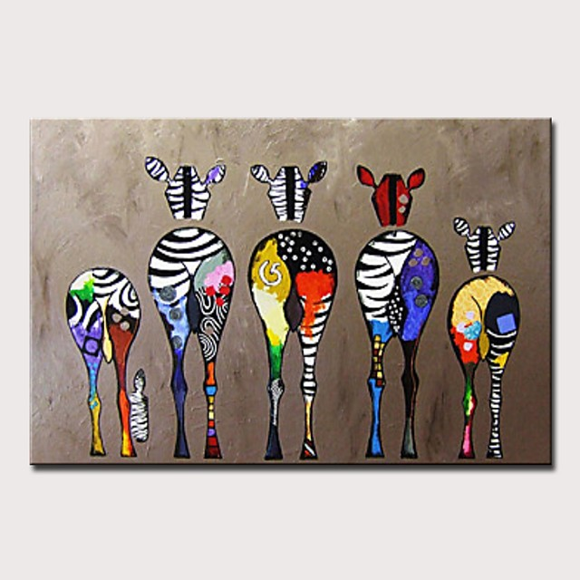 Nursery Oil Painting Handmade Hand Painted Wall Art Abstract Colorful Zebra Home Decoration Décor Rolled Canvas No Frame Unstretched