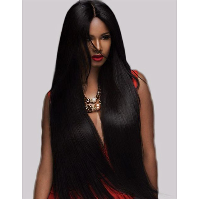 Remy Human Hair Lace Front Wig Middle Part style Brazilian Hair Yaki Straight Black Wig 250% Density with Baby Hair Gift Thick with Clip Women's Medium Length Human Hair Lace Wig Premierwigs