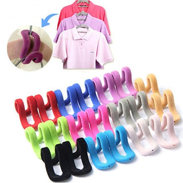 5Pcs/lot Multifunctional Flocking Mini Magic Hanging Hooks for Clothes Rack Hanger String Travel Clothing Organizer