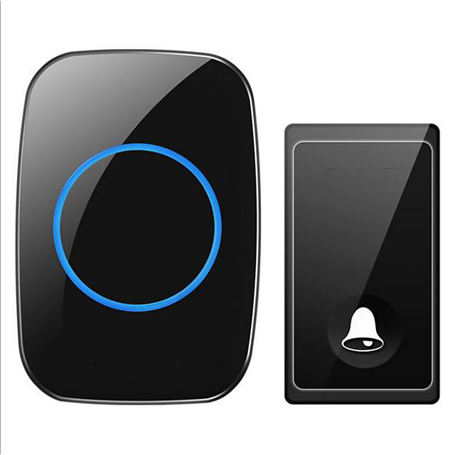 Wireless Doorbell One to One Doorbell Music Ding dong Non-visual Doorbell Self-powered ABS+PC White & Black