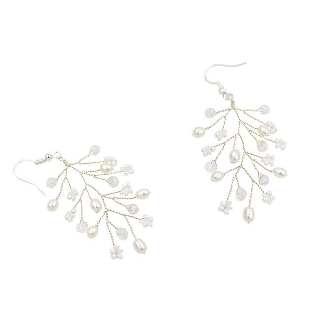 Women's Drop Earrings Braided Pearl Earrings Jewelry Silver For Wedding Party Festival 1 Pair
