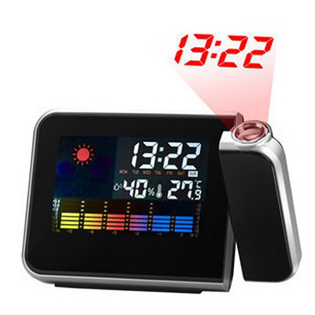 Digital LCD Screen Weather Station Forecast Calendar Projector Snooze Alarm Clock
