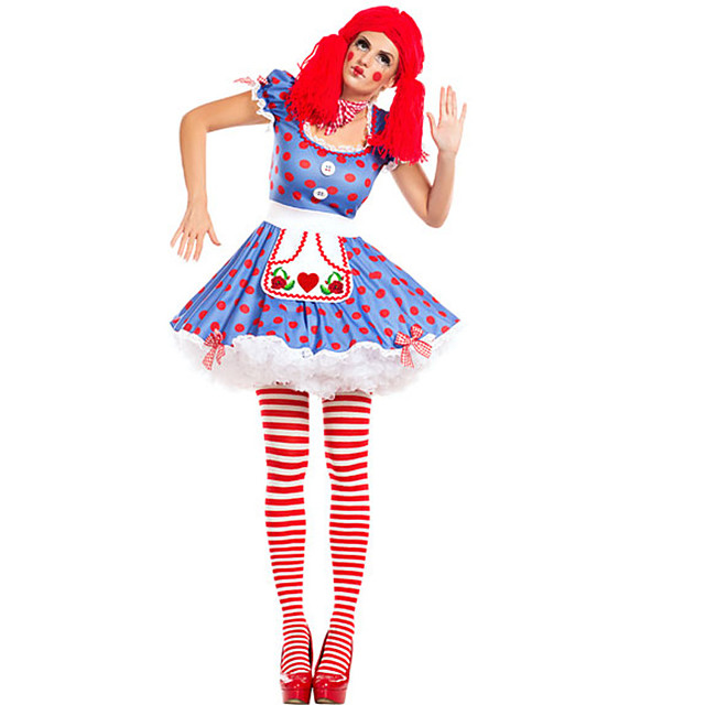 Burlesque Clown Dress Party Costume Adults' Men's Funny & Reluctant Halloween Christmas Halloween Carnival Festival / Holiday Polyster Blue Carnival Costumes Polka Dot