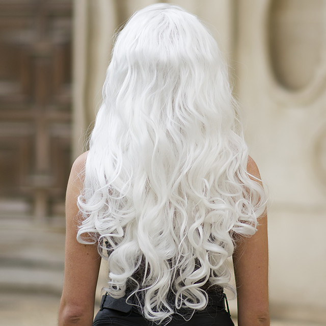 Synthetic Lace Front Wig Body Wave Middle Part Lace Front Wig Long White Synthetic Hair 22-26 inch Women's Soft Heat Resistant Women White / Glueless