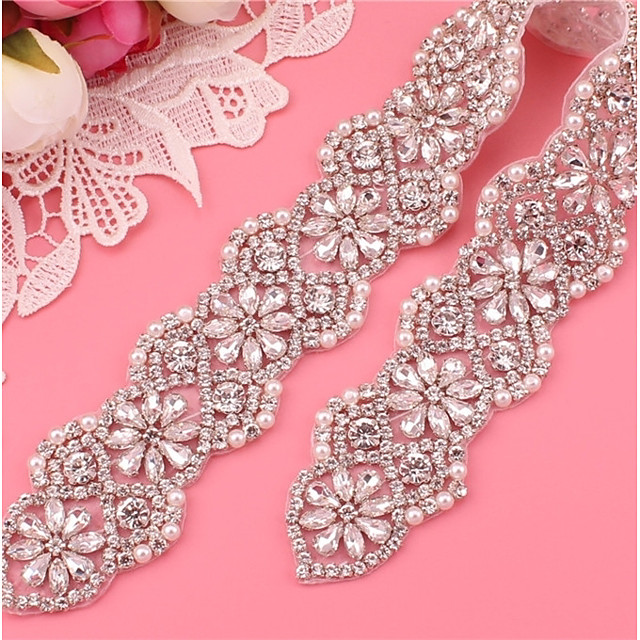 Silver plated steel Wedding / Party / Evening Sash With Imitation Pearl / Appliques / Crystals / Rhinestones Women's Sashes