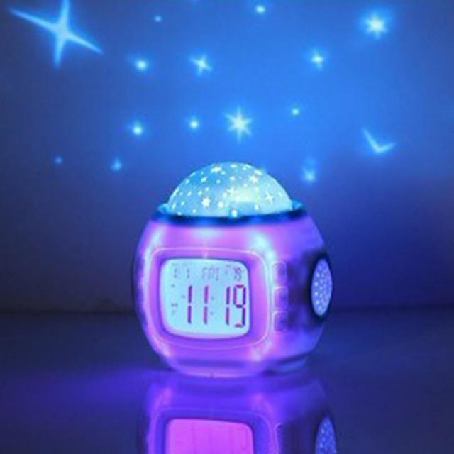 Music Starry Sky Projection Alarm Clock Snooze Digital LED Alarm Clock Calendar Thermometer Projection Light
