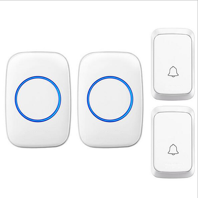 Black White Doorbell Wireless DC Two to Two Doorbell Music Ding dong Non-visual Doorbell Waterproof ABS+PC