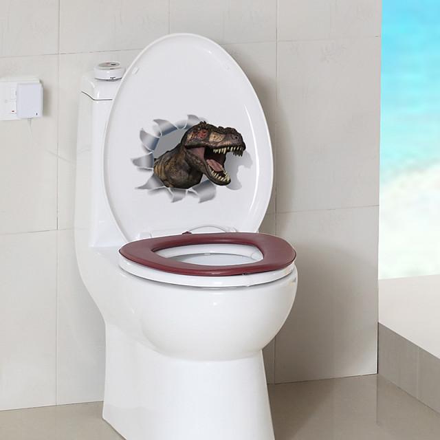 Cartoon Dinosaur Toilet Stickers - Animal Wall Stickers Animals Bathroom / Indoor