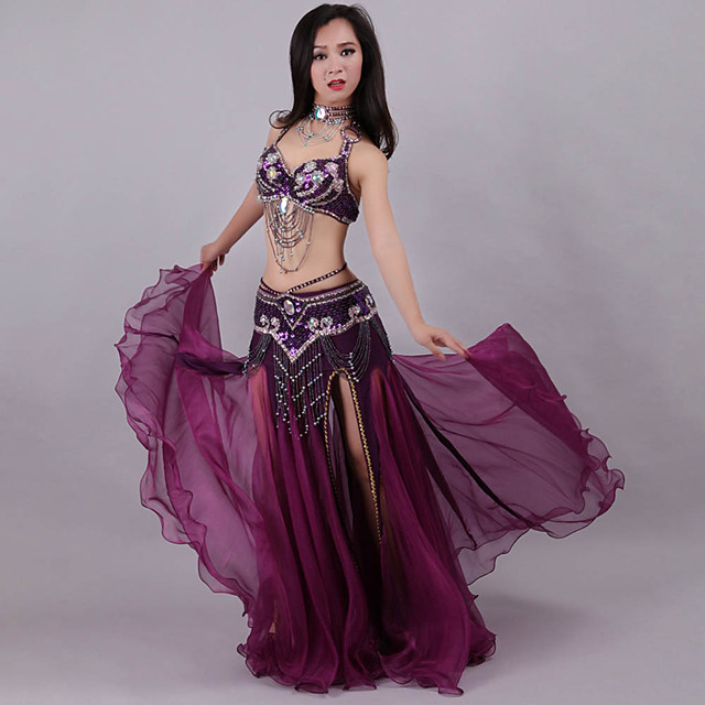 Belly Dance Skirts Crystals Rhinestones Paillette Women's Training Performance Sleeveless Dropped Polyester