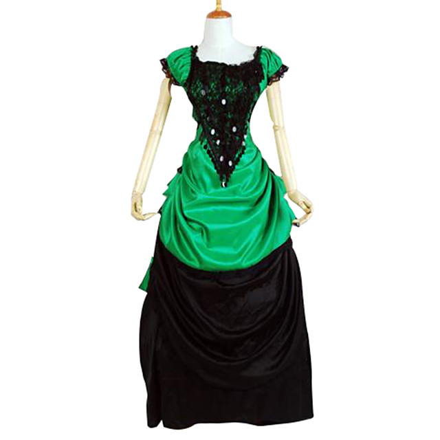 Classic Lolita Victorian Dress Women's Girls' Satin Party Prom Japanese Cosplay Costumes Plus Size Customized Black Ball Gown Color Block Short Sleeve Long Length