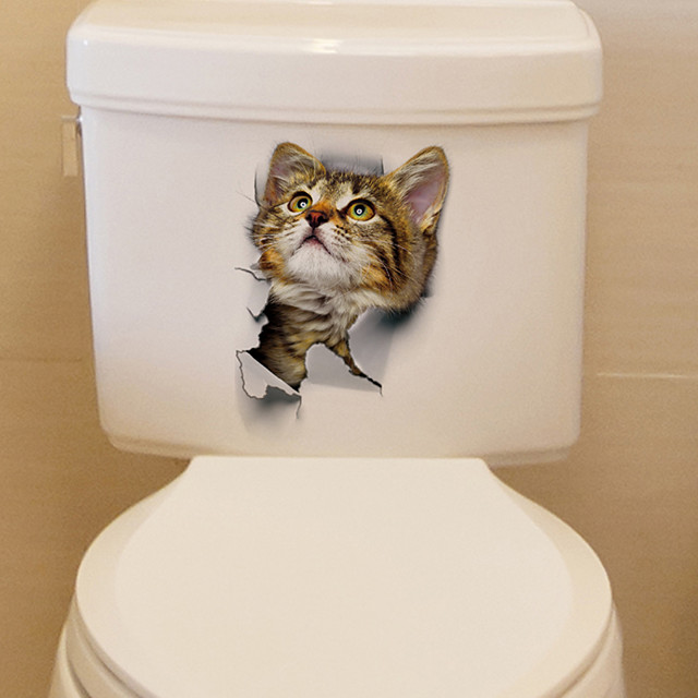 Lovely Cat Toilet Wall Stickers - Words &amp Quotes Wall Stickers Characters Study Room / Office / Dining Room / Kitchen