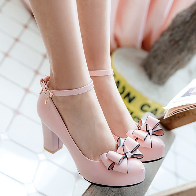 Girls' Tiny Heels for Teens PU Heels Little Kids(4-7ys) / Big Kids(7years +) Black / Pink / Beige Spring &  Fall
