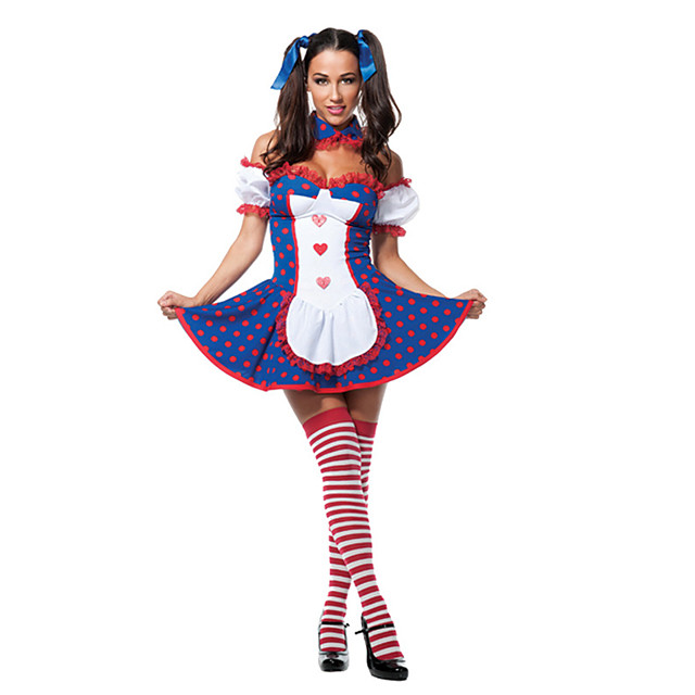 Burlesque Clown Circus Dress Party Costume Adults' Women's Funny & Reluctant Halloween Christmas Halloween Carnival Festival / Holiday Polyster Dark Blue Female Carnival Costumes Polka Dot