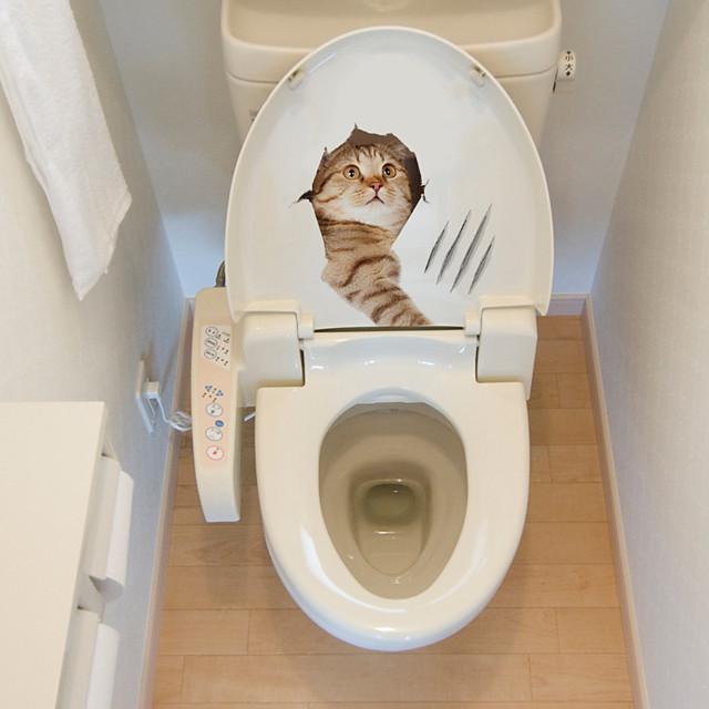 Cute Animals Toilet Stickers - Animal Wall Stickers Animals Bathroom / Kids Room