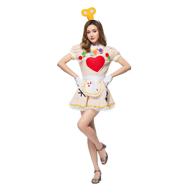 Maid Costume Burlesque Clown Circus Dress Party Costume Adults' Women's Funny & Reluctant Halloween Christmas Halloween Carnival Festival / Holiday Lace Polyster Beige Female Carnival Costumes Lace