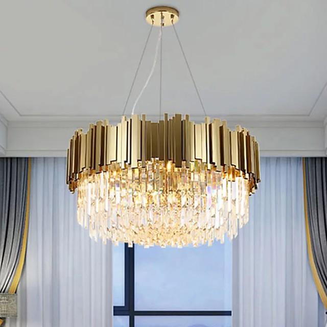 8-Light 60 cm Chandelier Metal Crystal Painted Finishes Modern 110-120V / 220-240V