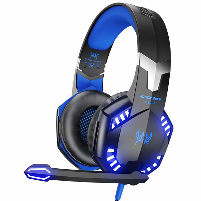 KOTION EACH G2000 Stereo Gaming Headset for Xbox One PS4 PC,Surround Sound Over-Ear Headphones with Noise Cancelling Mic, LED Lights, Volume Control for Laptop, Mac, PS3, Nintendo Switch Games