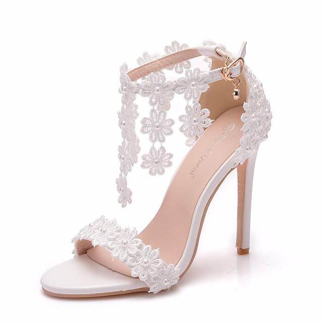 Women's Lace / PU(Polyurethane) Spring & Summer Sweet Wedding Shoes Stiletto Heel Peep Toe Imitation Pearl / Buckle / Tassel White