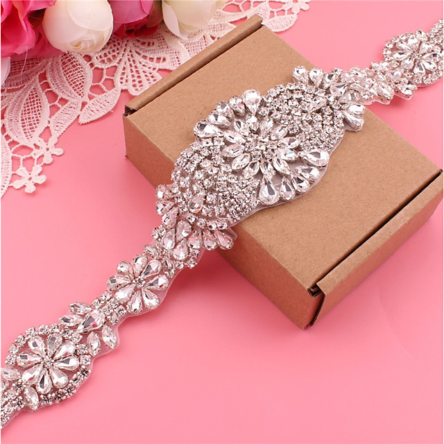Silver plated steel Wedding / Party / Evening Sash With Crystals / Rhinestones Women's Sashes