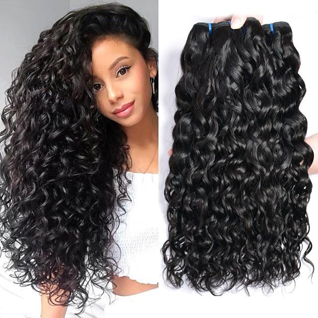 4 Bundles Hair Weaves Brazilian Hair Water Wave Human Hair Extensions Remy Human Hair 100% Remy Hair Weave Bundles 400 g Natural Color Hair Weaves / Hair Bulk Human Hair Extensions 8-28 inch Natural