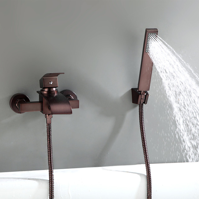 Antique Oil-rubbed Bronze Wall Mounted Ceramic Valve Bath Shower Mixer Taps-Bathtub Faucet / Tub Faucets