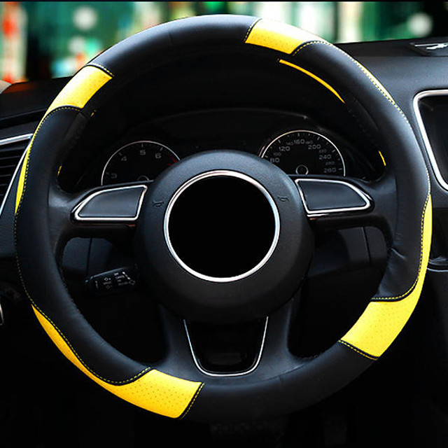 Car Auto Steering wheel covers Microfiber leather 15''/38cm for Four seasons for all universal models