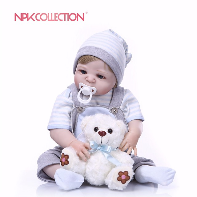 NPKCOLLECTION 24 inch Reborn Doll Baby Boy Gift New Design Artificial Implantation Blue Eyes Full Body Silicone Silica Gel Vinyl with Clothes and Accessories for Girls' Birthday and Festival Gifts