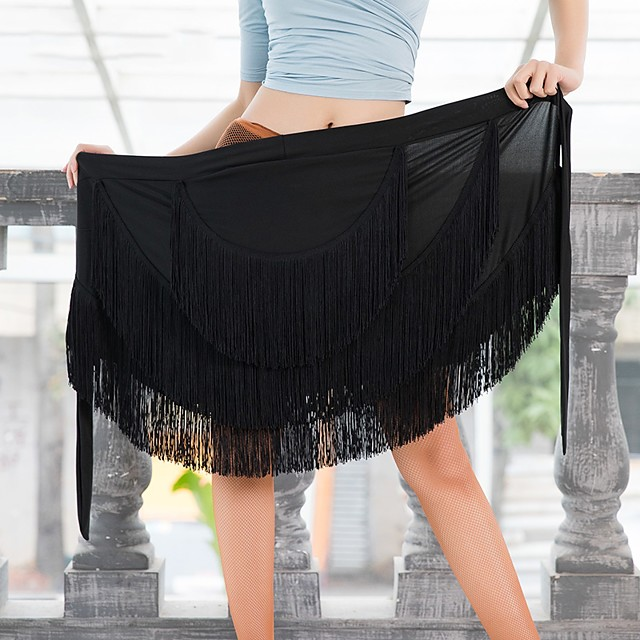 Latin Dance Skirts Tassel Women's Performance Dropped Milk Fiber